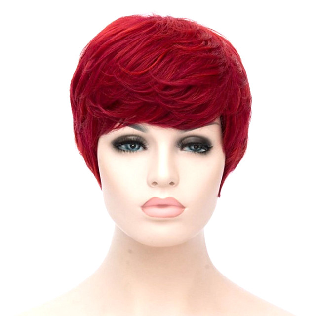 Synthetic Wig Curly Short Bob Side Part Wig Short Red Synthetic Hair Women's Cosplay Party Fashion Red