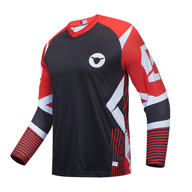 CAWANFLY Men's Long Sleeve Downhill Jersey with Pants Dirt Bike Jersey Winter Black / Red Novelty Funny Bike Tee Tshirt Jersey Top Mountain Bike MTB Road Bike Cycling Breathable Sports Clothing