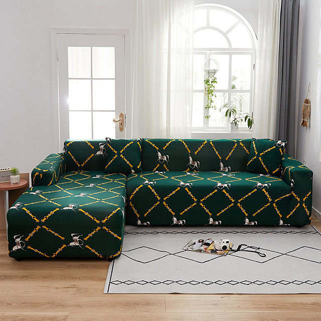 Color Green Print Dustproof All-powerful  Stretch L Shape Sofa Cover Super Soft Fabric Sofa Furniture Protector with One Free Boster Case