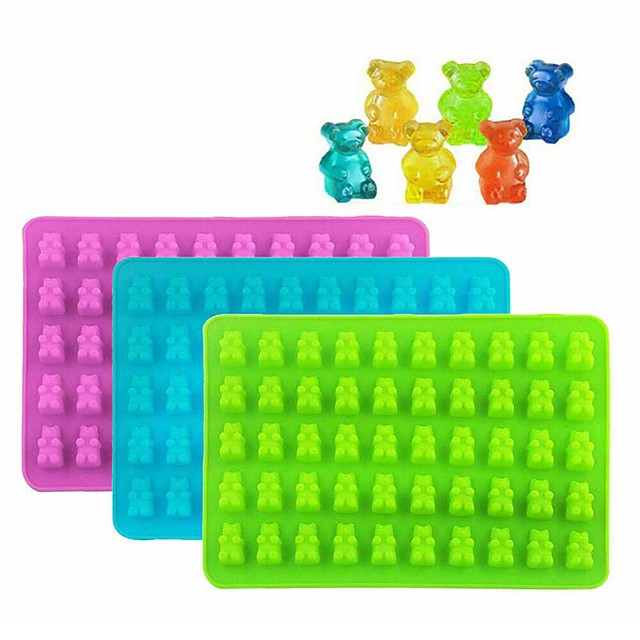 50 Gummy Bears Silicone Mould Chocolate Fondant Jelly Ice Cube Mold for DIY Handicraft Baking Accessories