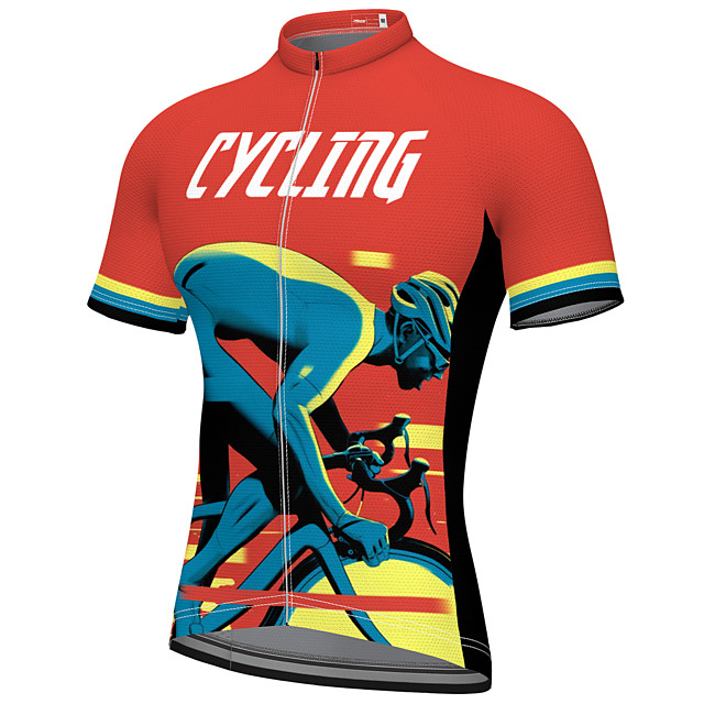 21Grams Men's Short Sleeve Cycling Jersey Summer Spandex Polyester Red Rainbow Bike Jersey Top Mountain Bike MTB Road Bike Cycling Quick Dry Moisture Wicking Breathable Sports Clothing Apparel