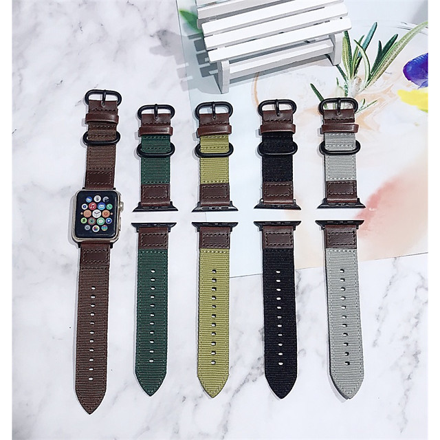 Smart Watch Band for Apple iWatch 1 pcs Classic Buckle PU Leather Canvas Replacement  Wrist Strap for Apple Watch Series SE / 6/5/4/3/2/1