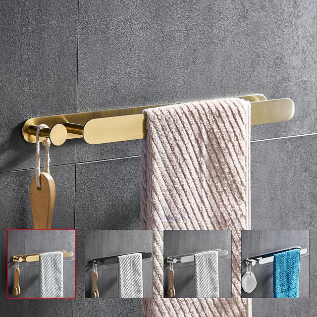 Toalheiro multifuncional com gancho, aço inoxidável 304 galvanizado, acabamento 4, ouro, escovado, preto, polido espelho, prateleira de banheiro e cozinha, 40cm, sem punção