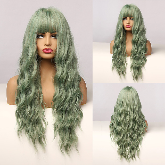 Long Mix Green Water Wave Synthetic Wigs for Women Lolita Cospaly Colorful Wig With Bangs Party Heat Resistant Fibre
