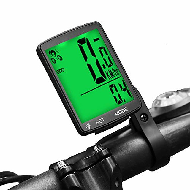 bike computer wireless waterproof cycling computer multifunctional bicycle speedometer odometer with large backlight lcd display for tracking distance speed time (green)