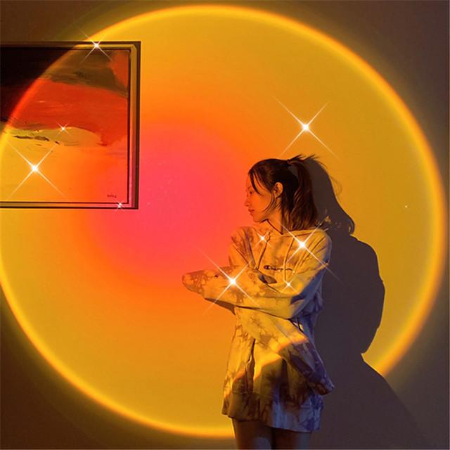 lampă de proiecție apus de soare led lumină de noapte apus de soare curcubeu tiktok lumină usb funcționează lampă de masă cafenea tiktok fundal lampă de perete atmosferă