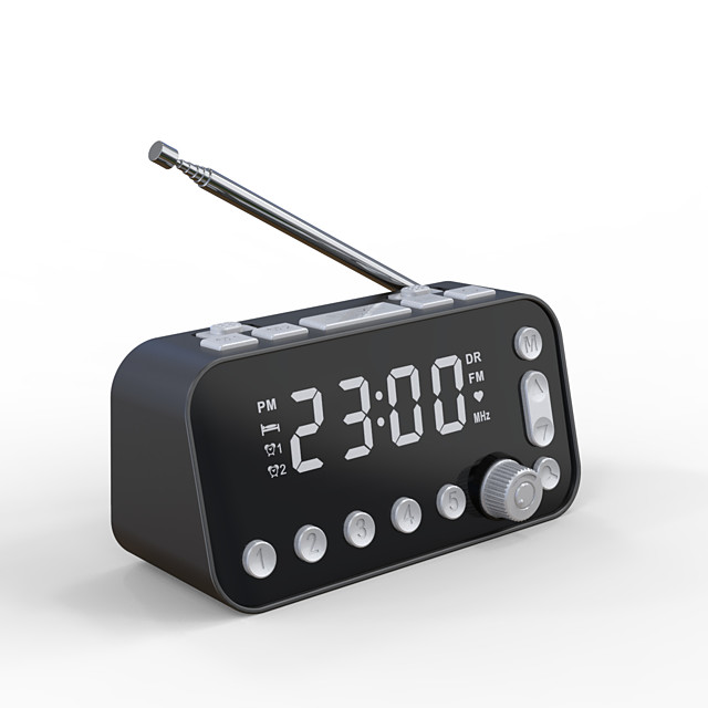 DAB-A1 FM Radio Digital Alarm Clock 12/24H DST Snooze Function Dual Alarms 2 USB Chargers Adjustable Brightness Dimmer for Bedroom Kids Heavy Sleepers DC Powered