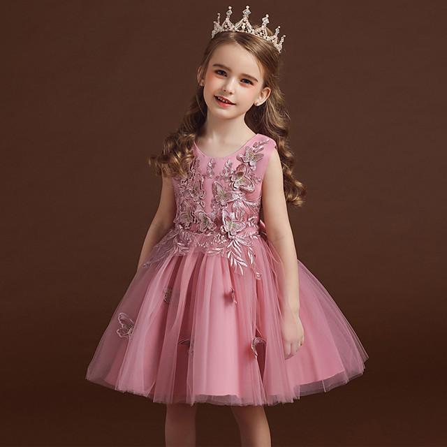 barn små jentekjole blomsterfest prinsesse sommerfugl bryllup brodert tyll sløyfe hvit rød rødmende rosa mote søte kjoler 3-12 år