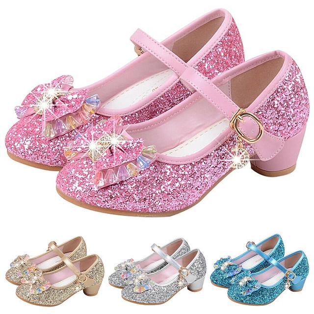 Girls' Heels Party Mary Jane Basic Pump PU Little Kids(4-7ys) Big Kids(7years +) Dress Crystal Bowknot White Black Purple Spring & Summer / Flower Girl Shoes / EU36