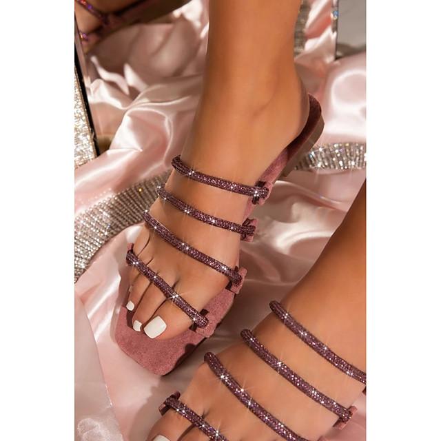 Women's Sandals Boho Bohemia Beach Flat Heel Open Toe Rubber Solid Colored Black Pink Khaki