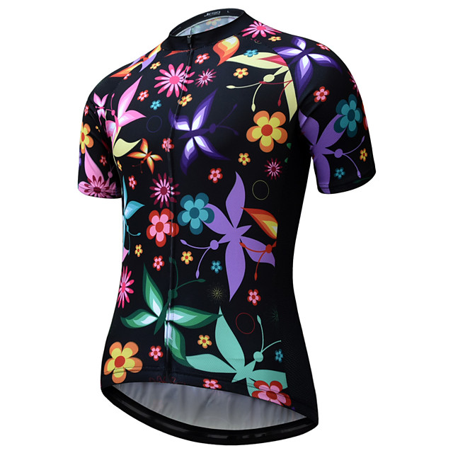 JESOCYCLING Women's Short Sleeve Cycling Jersey Black Bike Jersey Mountain Bike MTB Road Bike Cycling Quick Dry Breathable Sports Clothing Apparel / Stretchy