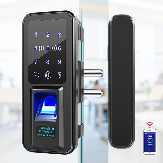 bangchen office glass door fingerprint lock single and double door no-opening password lock smart electronic lock sliding access control lock
