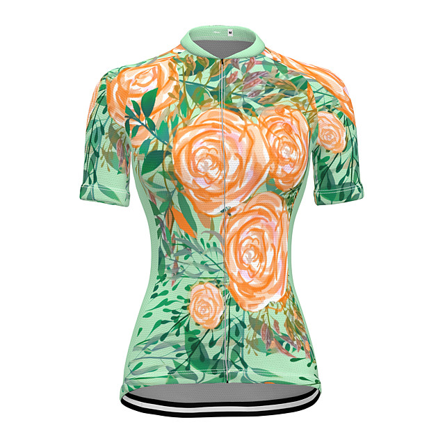 21Grams Women's Short Sleeve Cycling Jersey Summer Spandex Polyester Green Floral Botanical Bike Jersey Top Mountain Bike MTB Road Bike Cycling Quick Dry Moisture Wicking Breathable Sports Clothing