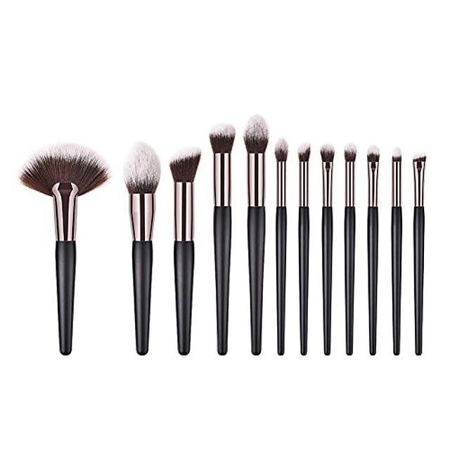 eyeshadow brush,  fan shape wood handle powder foundation eye shadow makeup brushes set(12pcs)