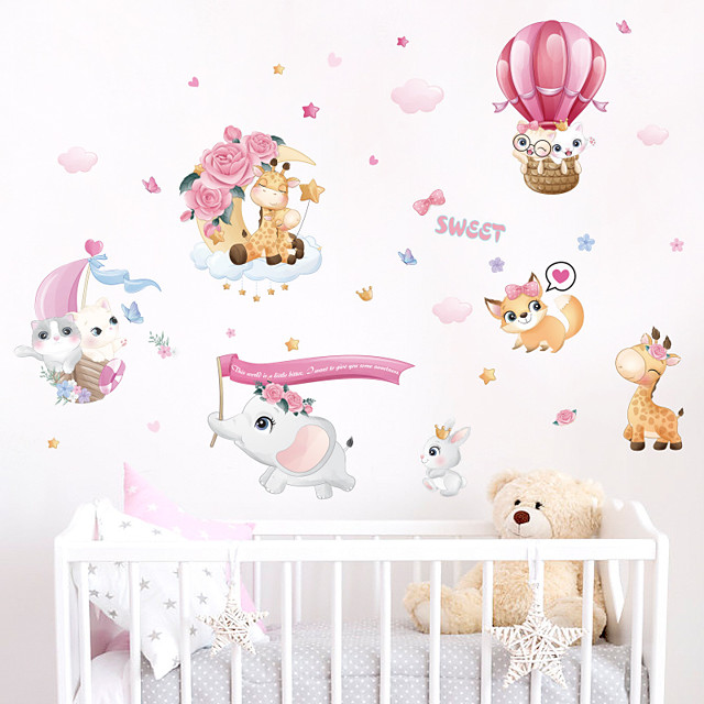 Animals Cartoon Wall Stickers Bedroom Kids Room Kindergarten Removable Pre-pasted PVC Home Decoration Wall Decal 1pc