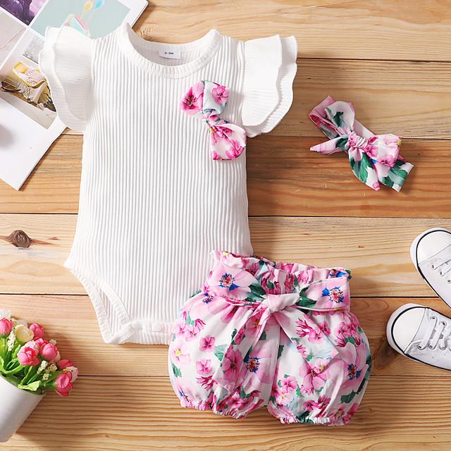 Baby Girls' Basic Floral Bow Print Short Sleeve Regular Clothing Set White