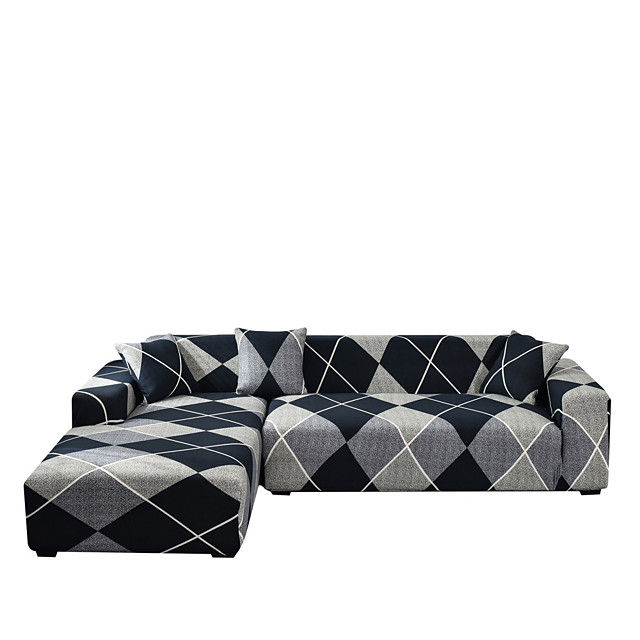 Sofa Cover Simple Geometry Print Dustproof Stretch Slipcovers Stretch Super Soft Fabric Couch Cover Fit for 1to  4 Cushion Couch and L Shape Sofa (You will Get 1 Throw Pillow Case as free Gift)