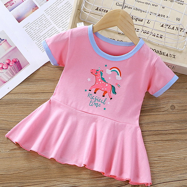 Kids Little Girls' Sundress Horse Graphic Animal Print White Yellow Blushing Pink Knee-length Sleeveless Basic Dresses Summer Regular Fit 3-8 Years