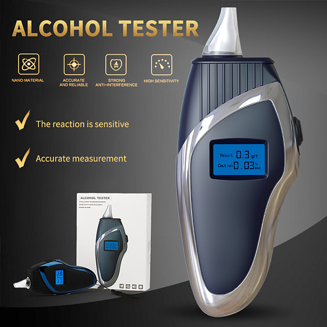 Alcohol Breath Tester Professional Digital Breathalyzer Mini Pocket Alcohol Detector LCD Backlight Alcohol Tester With Lanyard