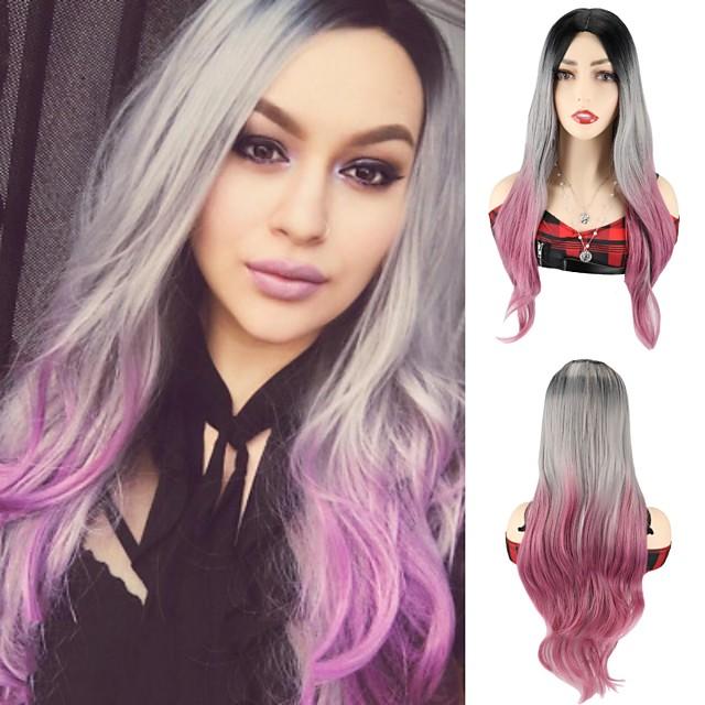 ombre barevné paruky syntetické vlasy paruka strana cosplay paruky body wave hedvábné vlnité syntetické paruky šedá růžová paruky pro černé ženy