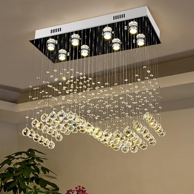 Crystal Chandelier Ceiling Light Luxury Wave Design 70cm Hot K9 Rectangle Hanging Lamp for Living Room Dining Room Crystal Chandelier Bar Island Cabinet Lamp Ceiling Pendant Lights