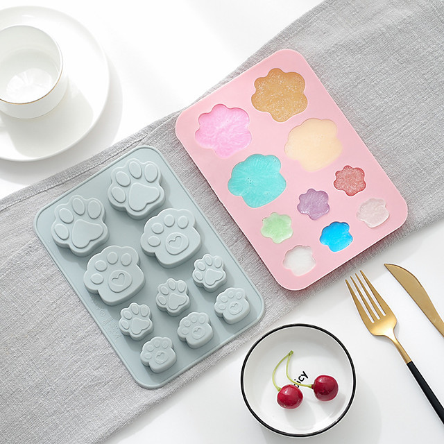 Cake Mould Baking Mold 2 Pieces Silicone 10 Grid Cat Paw Soap Ice Tray Key Chain Mold Cold Insulation Heatproof Consisting Mold