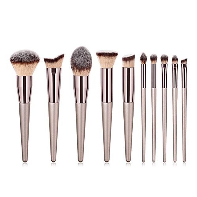 Набор кистей для макияжа с золотой ручкой, 10 шт., тональная пудра для бровей, пламя, шампанское, золотая ручка