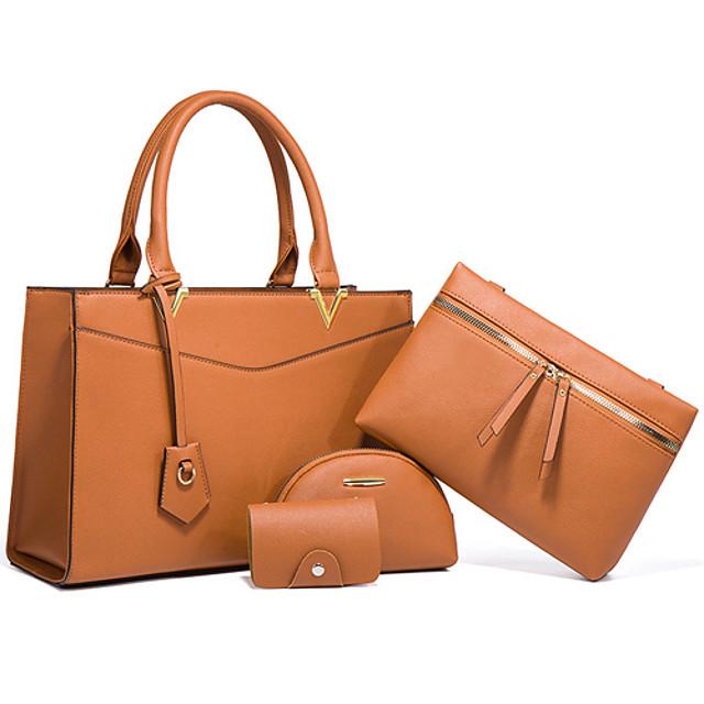 Women's Bags PU Leather Bag Set 4 Pieces Purse Set Zipper Solid Color Daily Going out Bag Sets 2021 Handbags Wine Black Khaki Brown
