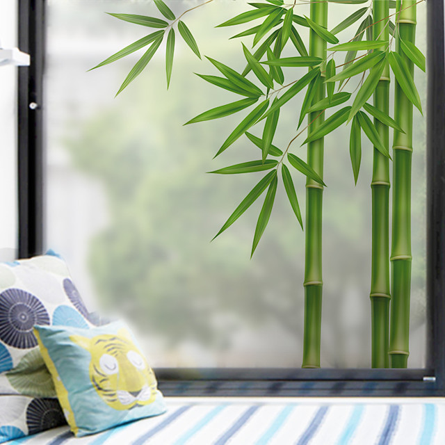Green Bamboo Pattern Matte Window Film Cling Vinyl Thermal-Insulation Privacy Protection Home Decor For Window Cabinet Door Sticker Window Sticker - 60*58CM