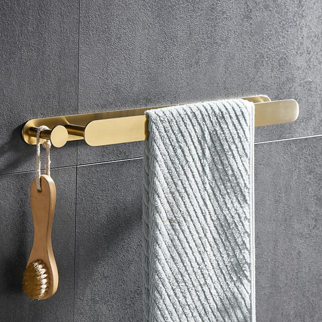 višenamjenska šipka za ručnike s kukom, galvanizirano od nehrđajućeg čelika 304, 4-završna obrada, zlatna, brušena, crna, polirana ogledalom, polica za kupaonicu i kuhinju, 40 cm, bez udarca