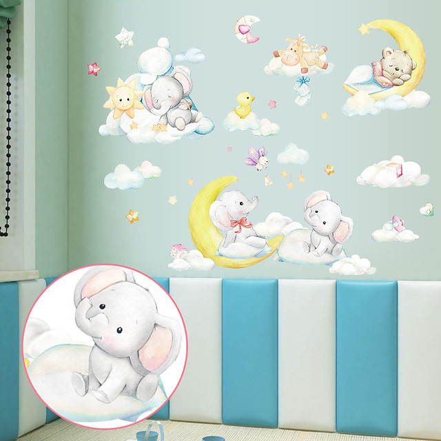 Cartoon Moon Elephant Bear Children's Room Bedroom Porch Kindergarten Wall Background Decoration Can Be Removed Wall Stickers