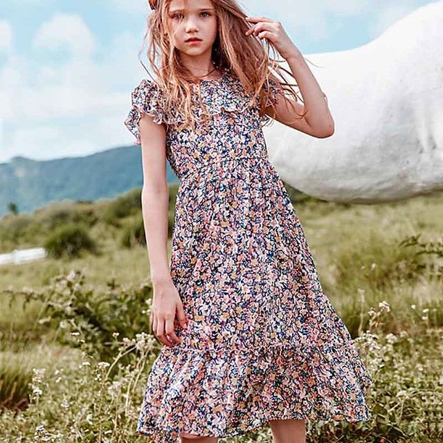 Kids Little Girls' Dress Red Rabbit Floral Holiday Patchwork Print Fuchsia Midi Cute Dresses Children's Day Spring & Summer 4-13 Years