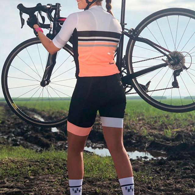 Women's Men's Short Sleeve Triathlon Tri Suit Summer Black / Yellow Black / Orange Bike Quick Dry Breathable Sports Mountain Bike MTB Road Bike Cycling Clothing Apparel / Stretchy / Athletic