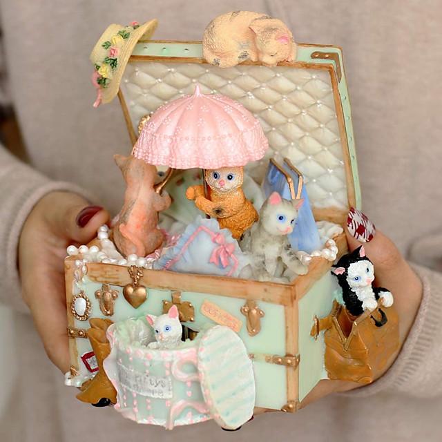 קופסא נגינת אוצר חזה חתול חמוד לנשים נשים נשים תינוקות חברות חברות בנות עיצוב בית קישוט מתנת יום הולדת מתנות ליום האהבה ימי נישואין (טירה בשמיים, ורוד)