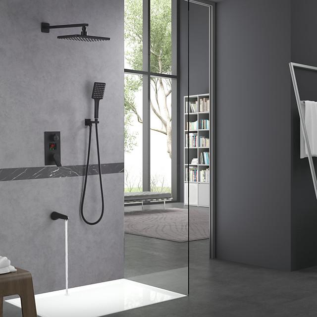 Shower Faucet Set - Handshower Included Rainfall Shower Multi Spray Shower Contemporary Electroplated Mount Inside Ceramic Valve Bath Shower Mixer Taps