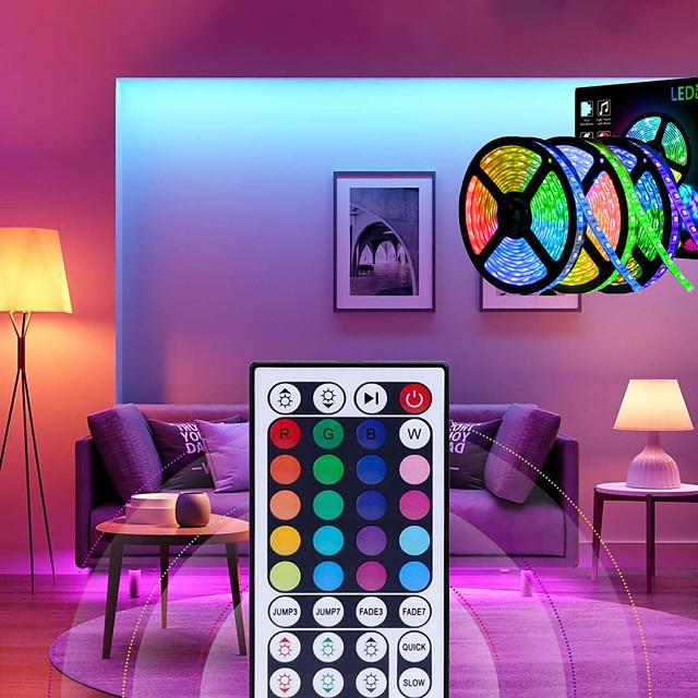 15 m Lyssæt 450 lysdioder 5050 SMD 10mm RGB Fjernbetjening Chippable Dæmpbar 12 V / Koblingsbar / Passer til Køretøjer / Selvklæbende / Farveskiftende / IP44