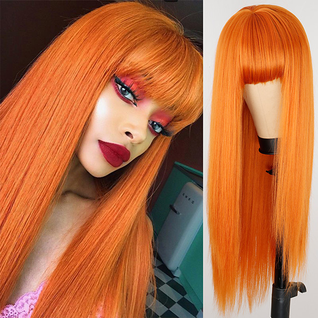 Synthetic Wig Natural Straight Neat Bang Wig Medium Length Blonde Synthetic Hair Women's Cosplay Party Fashion Blonde