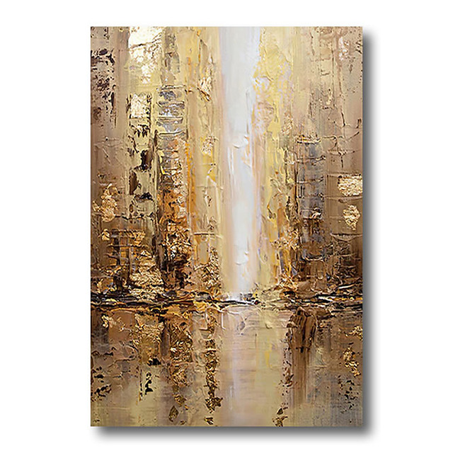 Stretched Oil Painting Hand Painted Canvas Abstract Comtemporary Modern High Quality Brown Golden Ready to Hang