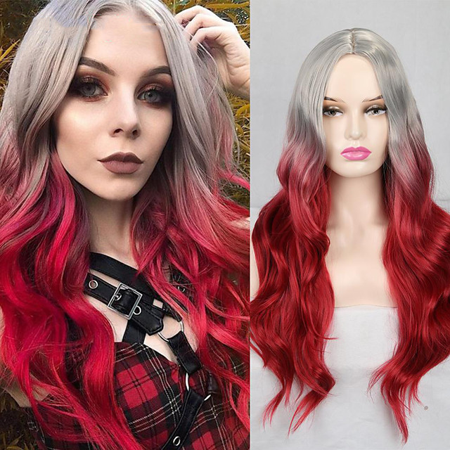 Synthetic Wig Deep Wave Middle Part Wig Medium Length A1 Synthetic Hair Women's Cosplay Party Fashion Red Dark Gray