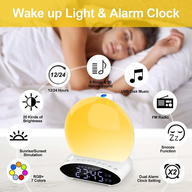 T-8 Clock Radios FM Radio Alarm Clock Night Lights LED Display for DC Powered