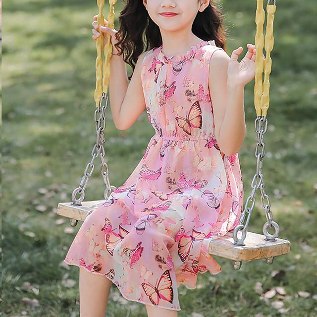 Kids Little Girls' Dress Graphic Holiday Print Purple Blushing Pink Midi Sleeveless Sweet Dresses Summer Regular Fit 3-13 Years
