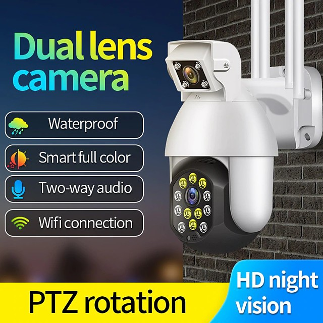 wifi high-definition smart binocular camera monitoring ball machine outdoor waterproof mobile phone remote monitor alarm light alarm