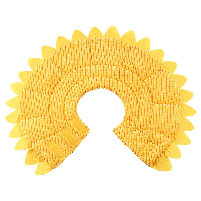 Dog Cat Pet Cone Pet Recovery Collar Elizabeth circle Adjustable Stress Relieving Safety Anti-Bite Lick Wound Healing After Surgery Protective Walking Daisy Cotton Small Dog Yellow