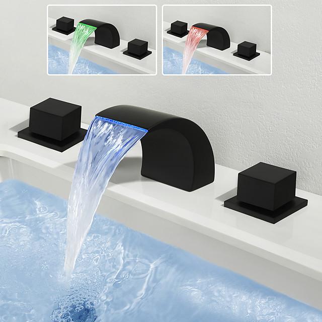 Fürdőszoba mosogató csaptelep - Vízesés / Széleskörű Festett felületek Elterjedt Két fogantyú három lyukBath Taps