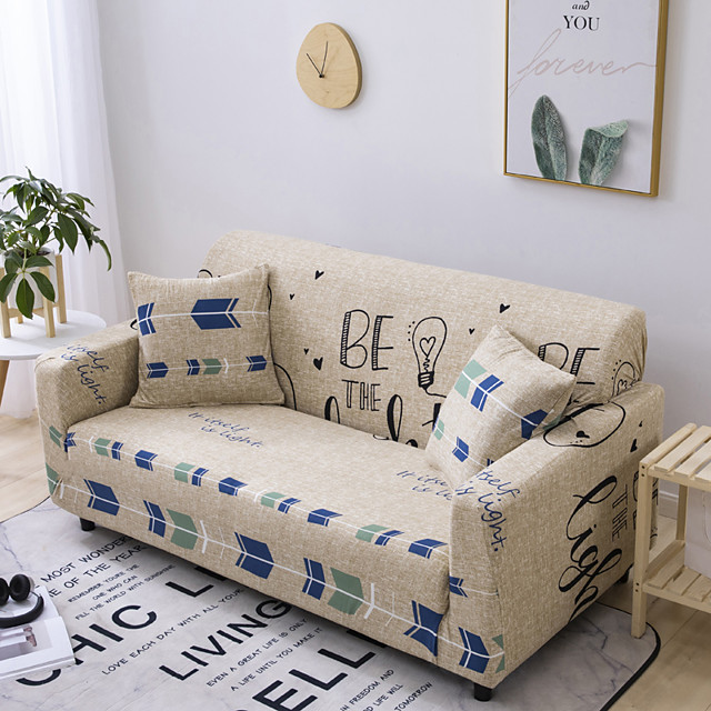 Sofa Cover Letter Print 1 Pc Couch Cover Furniture Protector Soft Stretch Slipcover Spandex Jacquard Fabric Super Fit for 14 Cushion Couch and L Shape SofaEasy to Install(1 Free Cushion Cover)