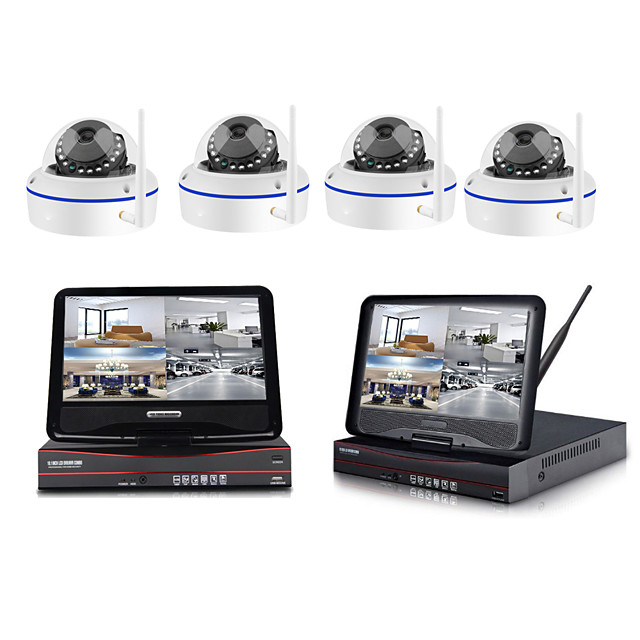 1080p wireless nvr kit 10 inch lcd monitor 2mp wifi dome camera p2p mobile phone monitor video home security system surveillance