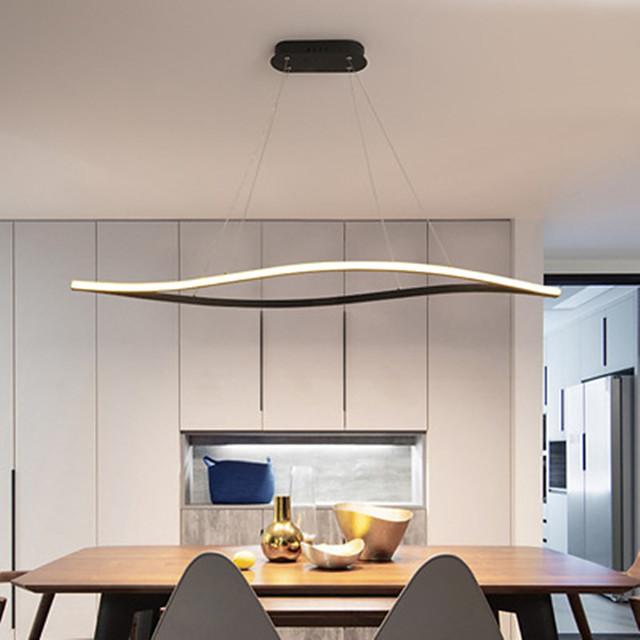 LED Pendant Light Wave Design Island Light Black White 80 cm Chandelier Aluminum Artistic Style Modern Style Painted Finishes Artistic 110-120V 220-240V