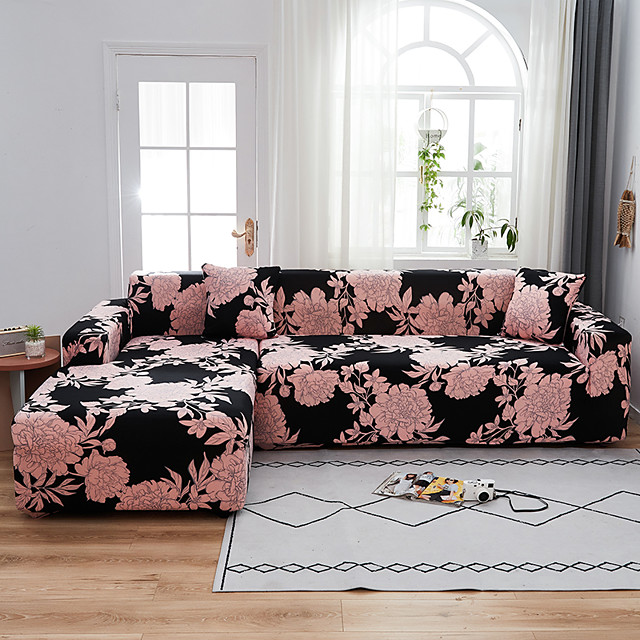 Pink Floral Rose Print Dustproof All-powerful  Stretch L Shape Sofa Cover Super Soft Fabric Sofa Furniture Protector with One Free Boster Case