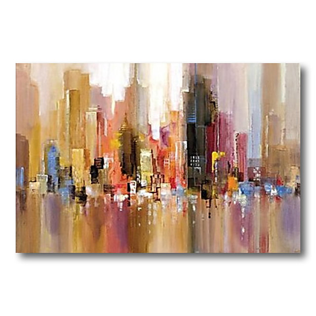 Stretched Oil Painting Hand Painted Canvas Abstract Comtemporary Modern High Quality Bilding City Ready to Hang