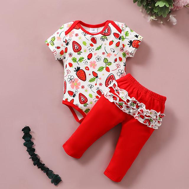 Baby Girls' Basic Print Bow Print Short Sleeve Regular Clothing Set Red